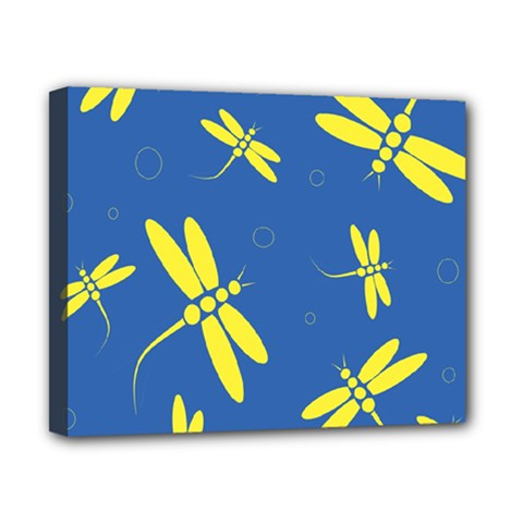 Blue and yellow dragonflies pattern Canvas 10  x 8