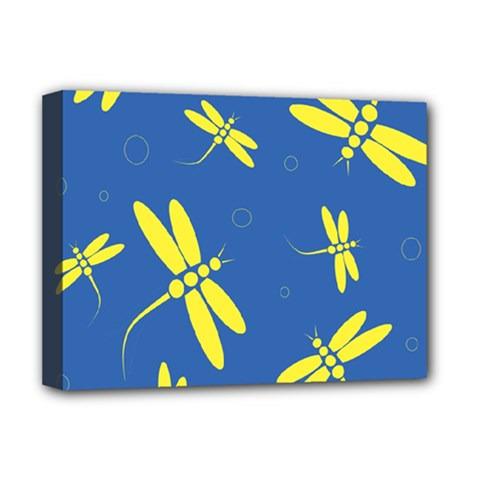Blue and yellow dragonflies pattern Deluxe Canvas 16  x 12