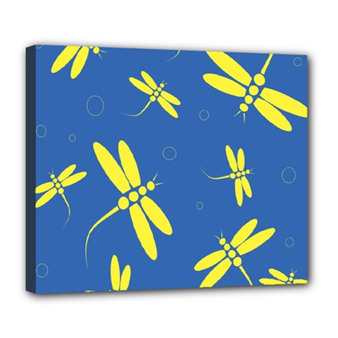 Blue and yellow dragonflies pattern Deluxe Canvas 24  x 20