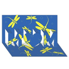 Blue and yellow dragonflies pattern MOM 3D Greeting Card (8x4)