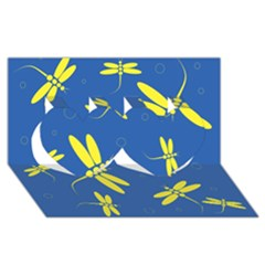 Blue and yellow dragonflies pattern Twin Hearts 3D Greeting Card (8x4)