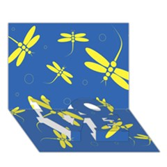 Blue and yellow dragonflies pattern LOVE Bottom 3D Greeting Card (7x5)