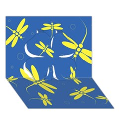 Blue and yellow dragonflies pattern Clover 3D Greeting Card (7x5)