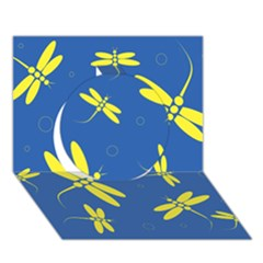 Blue and yellow dragonflies pattern Circle 3D Greeting Card (7x5)