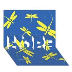 Blue And Yellow Dragonflies Pattern Hope 3d Greeting Card (7x5)