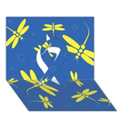 Blue and yellow dragonflies pattern Ribbon 3D Greeting Card (7x5)