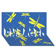 Blue and yellow dragonflies pattern ENGAGED 3D Greeting Card (8x4)