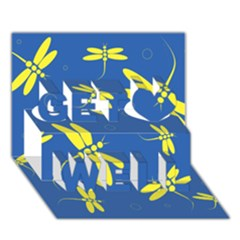 Blue and yellow dragonflies pattern Get Well 3D Greeting Card (7x5)