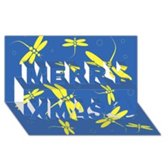 Blue and yellow dragonflies pattern Merry Xmas 3D Greeting Card (8x4)