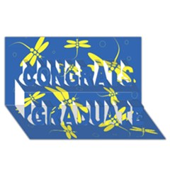 Blue and yellow dragonflies pattern Congrats Graduate 3D Greeting Card (8x4)