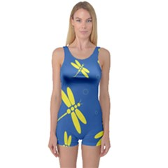 Blue and yellow dragonflies pattern One Piece Boyleg Swimsuit