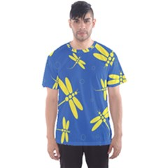 Blue and yellow dragonflies pattern Men s Sport Mesh Tee