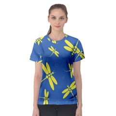 Blue and yellow dragonflies pattern Women s Sport Mesh Tee