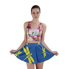 Blue and yellow dragonflies pattern Mini Skirt