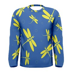Blue and yellow dragonflies pattern Men s Long Sleeve Tee