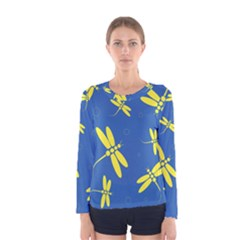 Blue and yellow dragonflies pattern Women s Long Sleeve Tee