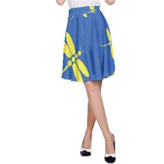 Blue and yellow dragonflies pattern A-Line Skirt