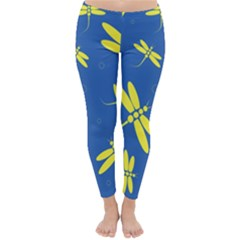 Blue and yellow dragonflies pattern Winter Leggings