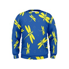 Blue and yellow dragonflies pattern Kids  Sweatshirt