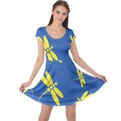 Blue and yellow dragonflies pattern Cap Sleeve Dresses