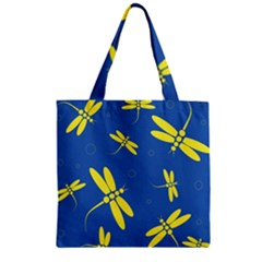 Blue and yellow dragonflies pattern Zipper Grocery Tote Bag