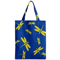 Blue and yellow dragonflies pattern Zipper Classic Tote Bag