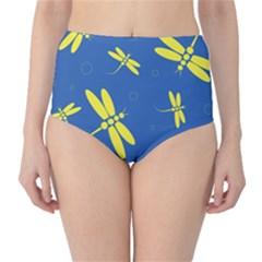 Blue and yellow dragonflies pattern High-Waist Bikini Bottoms