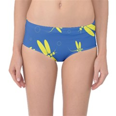 Blue and yellow dragonflies pattern Mid-Waist Bikini Bottoms