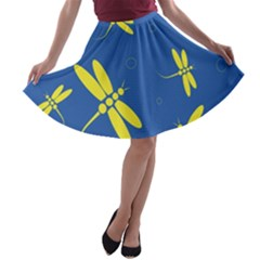 Blue and yellow dragonflies pattern A-line Skater Skirt