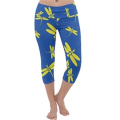 Blue and yellow dragonflies pattern Capri Yoga Leggings