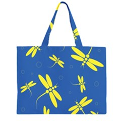 Blue and yellow dragonflies pattern Zipper Large Tote Bag