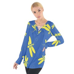 Blue And Yellow Dragonflies Pattern Women s Tie Up Tee