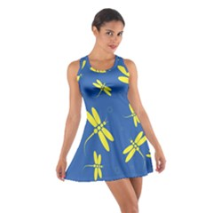 Blue and yellow dragonflies pattern Racerback Dresses