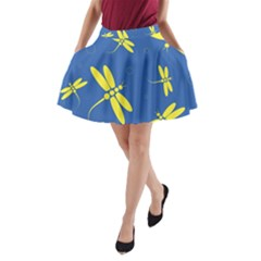Blue and yellow dragonflies pattern A-Line Pocket Skirt