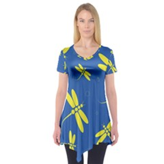 Blue and yellow dragonflies pattern Short Sleeve Tunic