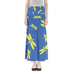 Blue and yellow dragonflies pattern Maxi Skirts