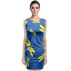Blue and yellow dragonflies pattern Classic Sleeveless Midi Dress