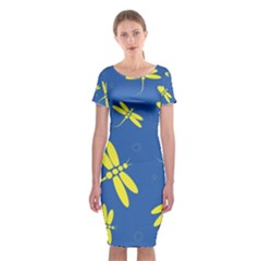 Blue and yellow dragonflies pattern Classic Short Sleeve Midi Dress