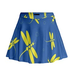 Blue and yellow dragonflies pattern Mini Flare Skirt