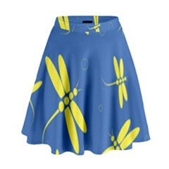 Blue and yellow dragonflies pattern High Waist Skirt