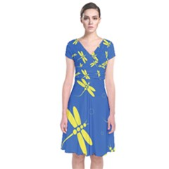 Blue And Yellow Dragonflies Pattern Short Sleeve Front Wrap Dress