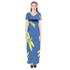 Blue and yellow dragonflies pattern Short Sleeve Maxi Dress