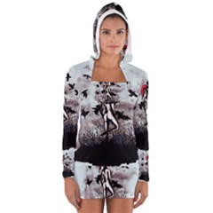 Dancing With Crows Women s Long Sleeve Hooded T Shirt