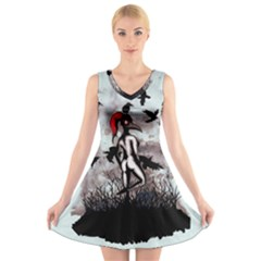 Dancing With Crows V Neck Sleeveless Skater Dress