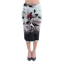 Dancing With Crows Midi Pencil Skirt