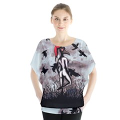 Dancing With Crows Batwing Chiffon Blouse