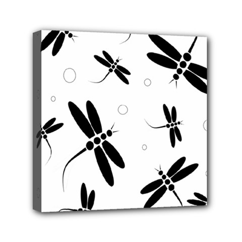 Black and white dragonflies Mini Canvas 6  x 6