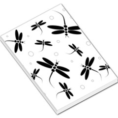 Black and white dragonflies Large Memo Pads