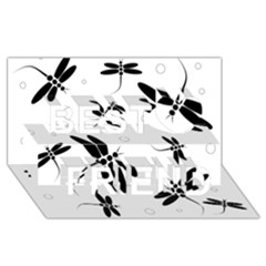 Black and white dragonflies Best Friends 3D Greeting Card (8x4)