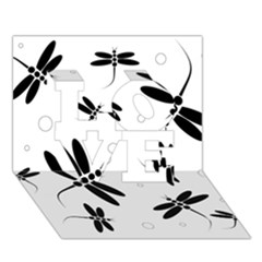 Black and white dragonflies LOVE 3D Greeting Card (7x5)